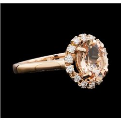 1.65 ctw Morganite and Diamond Ring - 14KT Rose Gold