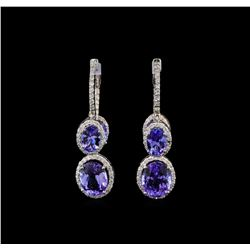 14KT White Gold 8.10 ctw Tanzanite and Diamond Earrings