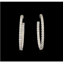 3.01 ctw Diamond Earrings - 14KT White Gold