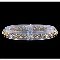 1.22 ctw Diamond Bracelet - 14KT Tri Color Gold