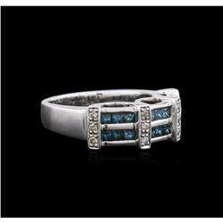 14KT White Gold 0.98 ctw Blue Diamond Ring