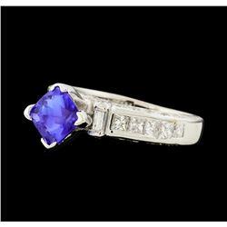 1.23 ctw Tanzanite and Diamond Ring - 18KT White Gold