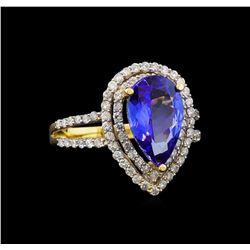 14KT Yellow Gold 3.19 ctw Tanzanite and Diamond Ring