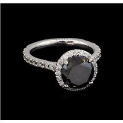 3.65 ctw Black Diamond Ring - 14KT White Gold