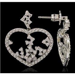 14KT White Gold 1.90 ctw Diamond Earrings
