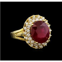 14KT Yellow Gold 6.72 ctw Ruby and Diamond Ring