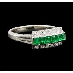 0.43 ctw Emerald and Diamond Ring - Platinum