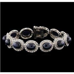 44.19 ctw Blue Star Sapphire and Diamond Bracelet - 14KT White Gold