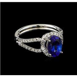18KT White Gold 1.93 ctw Tanzanite and Diamond Ring
