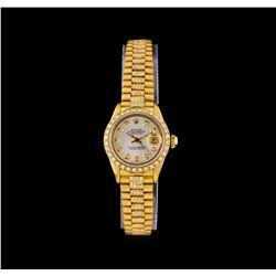 Rolex 18KT Gold Super President 2.18 ctw Diamond DateJust Ladies Watch