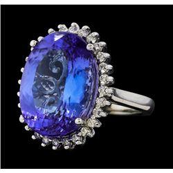 13.30 ctw Tanzanite and Diamond Ring - 14KT White Gold