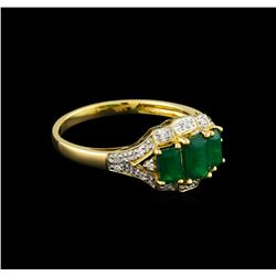 1.16 ctw Emerald and Diamond Ring - 14KT Yellow Gold