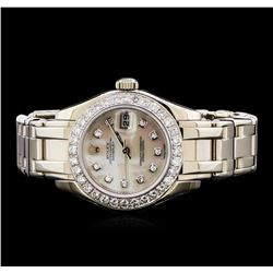 Rolex Pearl Master 18KT White Gold 1.44 ctw Diamond DateJust Ladies Watch