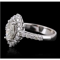 14KT White Gold 1.83 ctw Marquise Cut Diamond Ring