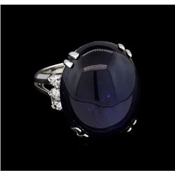 53.63 ctw Blue Star Sapphire and Diamond Ring - 14KT White Gold