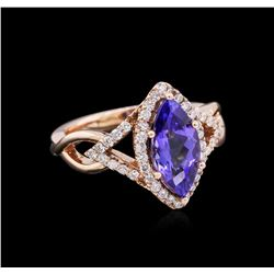 2.13 ctw Tanzanite and Diamond Ring - 14KT Rose Gold