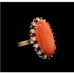 14KT Rose Gold 11.32 ctw Pink Coral, Ruby and Diamond Ring