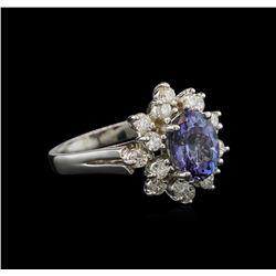 2.20 ctw Tanzanite and Diamond Ring - 14KT White Gold