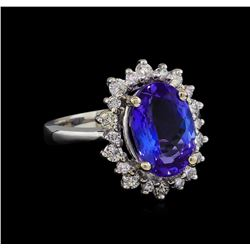 4.67 ctw Tanzanite and Diamond Ring - 14KT White Gold