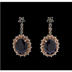 9.43 ctw Blue Sapphire and Diamond Earrings - 14KT Rose Gold