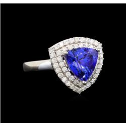 14KT White Gold 3.40 ctw Tanzanite and Diamond Ring