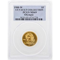 1988-W PCGS MS69 US Vault Collection $5 Olympic Gold Coin