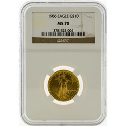 1986 NGC MS70 $10 Eagle Gold Coin