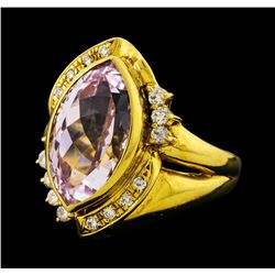6.92 ctw Kunzite and Diamond Ring - 18KT Yellow Gold