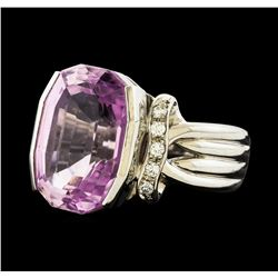 13.30 ctw Kunzite and Diamond Ring - Platinum