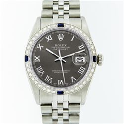 Rolex Stainless Steel Dark Rhodium Roman Sapphire DateJust Men's Watch