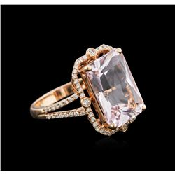 14KT Rose Gold 9.78 ctw Kunzite and Diamond Ring