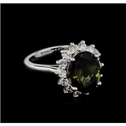 4.18 ctw Tourmaline and Diamond Ring - 14KT White Gold