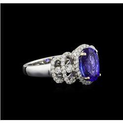 18KT White Gold 2.15 ctw Tanzanite and Diamond Ring