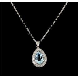 3.7 ctw Aquamarine and Diamond Pendant With Chain - 14KT White Gold