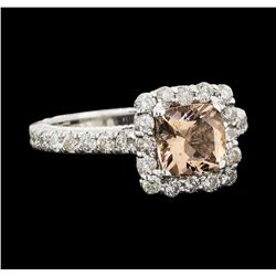 1.72 ctw Morganite and Diamond Ring - 14KT White Gold
