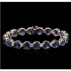 29.83 ctw Blue Sapphire and Diamond Bracelet - 14KT White Gold