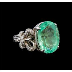 GIA Cert 8.92 ctw Emerald and Diamond Ring - 14KT White Gold