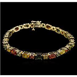 17.55 ctw Multi Color Sapphire Bracelet - 14KT Yellow Gold