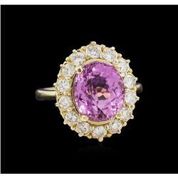 5.77 ctw Kunzite and Diamond Ring - 14KT Yellow Gold