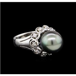 1.33 ctw Pearl and Diamond Ring - 14KT White Gold