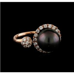 0.66 ctw Diamond and Pearl Ring - 14KT Rose Gold