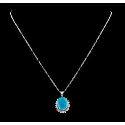 5.46 ctw Turquoise and Diamond Pendant With Chain - 14KT White Gold