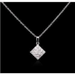 0.65 ctw Diamond Pendant With Chain - 14KT White Gold