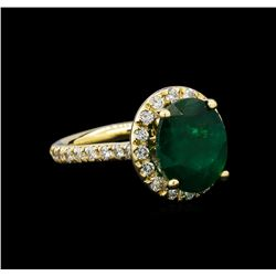 4.45 ctw Emerald and Diamond Ring - 14KT Yellow Gold