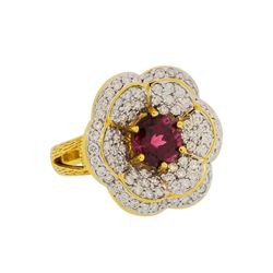 2.55 ctw Red Spinel and Diamond Ring - 18KT Yellow Gold