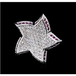 0.52 ctw Pink Sapphire and Diamond Star Pendant - 18KT White Gold