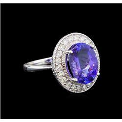 14KT White Gold 5.61 ctw Tanzanite and Diamond Ring