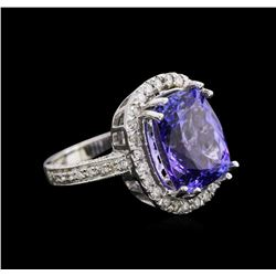 9.26 ctw Tanzanite and Diamond Ring - 14KT White Gold