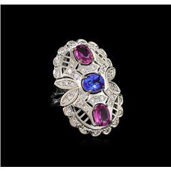 2.18 ctw Pink Sapphire, Tanzanite and Diamond Ring - 14KT White Gold