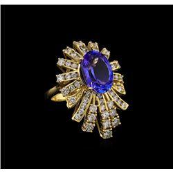 5.82 ctw Tanzanite and Diamond Ring - 14KT Yellow Gold
